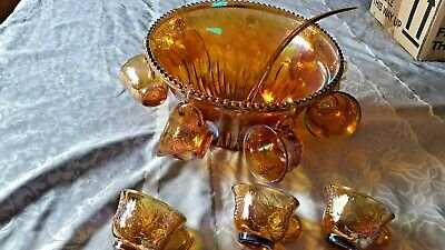 An Indiana Amber Gold Carnival Glass Punch Bowl 9 Cups & Ladle Grape/vine • 39£