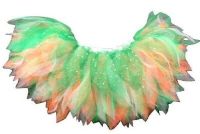 Neon Tutu Skirt Green White Oranage Irish Fancy Dress Hen Party St Patrick's Day • 8.99£