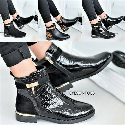 Ladies Womens Fashion Flat Chelsea Dealer Ankle Patent Croc Zip Shoes Boots Size • 21.99£