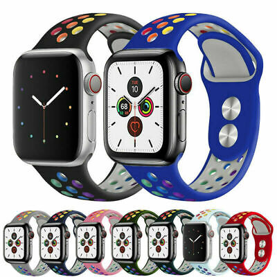 AU9.99 • Buy Rainbow Silicone Strap For Apple Watch Series 5 4 3 21 38/40/42/44mm IWatch Band