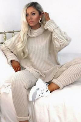 Women Ladies Chunky Knitted Polo Roll Neck Top Leggings 2 Piece Tracksuit Set • 18.90£
