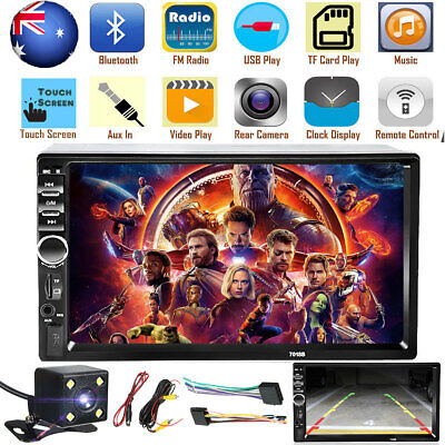 AU76.99 • Buy 7'' MP5 Player Car Head Unit Stereo Speakers Double Din Bluetooth Reverse Camera