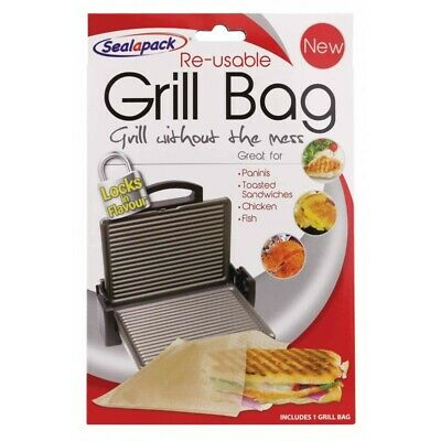 Reusable Grill Bag NO MESS!! Paninis Toasted Sandwiches Meat Fish Sealapack • 15£