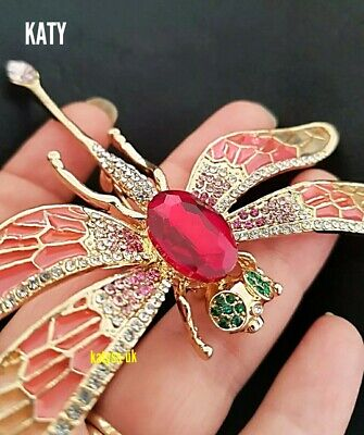 £10.20 • Buy Large Dragonfly Crystal Broach Pendant Vintage Style Diamante Green BROOCH Pin