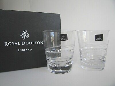 Royal Doulton Fine Lead Crystal Linear Wave Tumblers 390ml X2 New Silk Lined Box • 24.95£