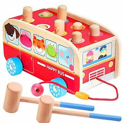Vanplay Wooden Hammer Toys For 1 2 3 Year Old,3 In 1 Pull Along Animal Bus Pound • 26.99£