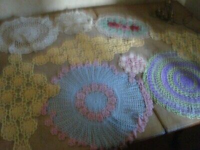 Collection Of Genuine Vintage Dressing Table Mats Doilies Coloured Hand Crochet • 20£