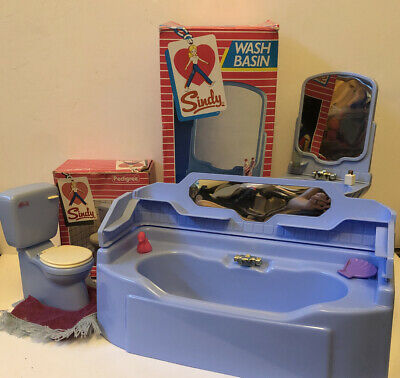 Sindy Vintage Deluxe Bath And Sink, Plus Toilet Set - Pedigree Doll Accessory • 29£