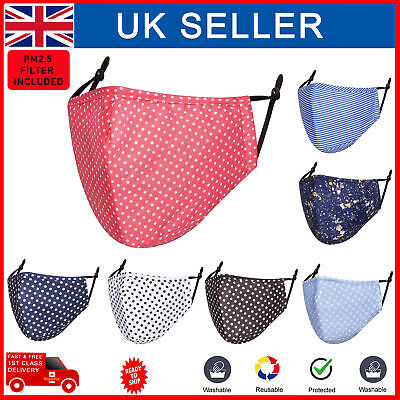 £1.99 • Buy Face Mask PM 2.5 Filter Cotton Polka Dot Reusable Washable Protective Covering