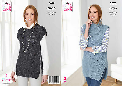 King Cole Knitting Pattern Ladies Long & Short Tabards - Aran 5657 • 3.89£