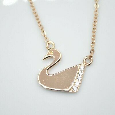 Rose Gold Plated Swan Bird Cubic Zirconia CZ Pendant 16  Chain Necklace Gift UK • 2.99£