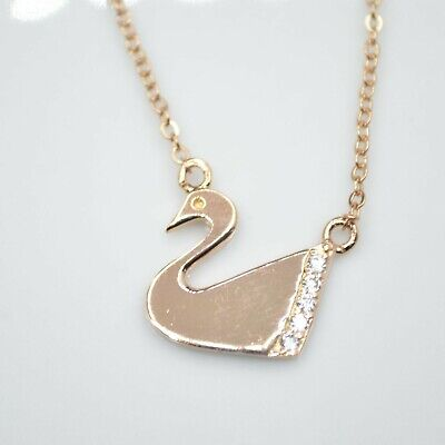£2.79 • Buy Rose Gold Plated Swan Bird Cubic Zirconia CZ Pendant 16  Chain Necklace Gift UK