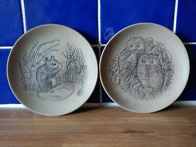 Pair Of Poole Pottery Plates. Owl Chicks And Mouse • 5.99£
