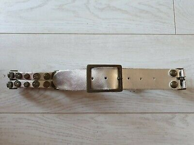 Hand Made Boho Coin Studded Solid Leather Ladies Belt Gold Metallic Size M Fab! • 15£