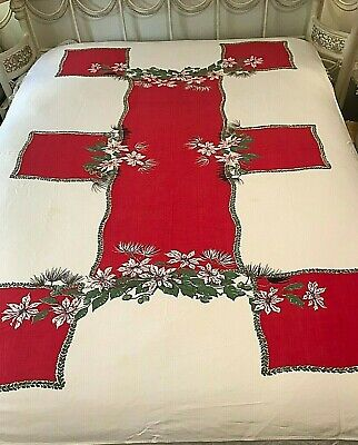 $ CDN56.96 • Buy Christmas Tablecloth Poinsettias Pine Color Block MCM Large 58 X76  Vintage Y4