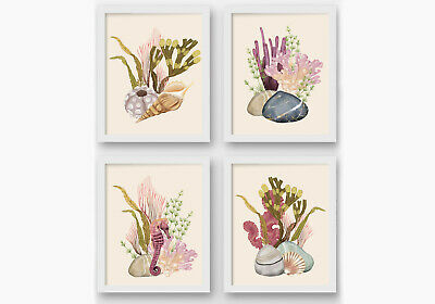 Seashells Beach Bathroom Wall Prints, Nautical Wall Decor, Seashells Art • 6.99£