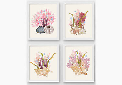Seashells Beach Bathroom Wall Prints, Seashells Wall Decor, Nautical Art • 11.99£