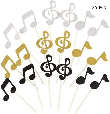 £10.95 • Buy Glitter Music Notes Decorative Cupcake Fairy Cake Toppers For Party, Set Of 36