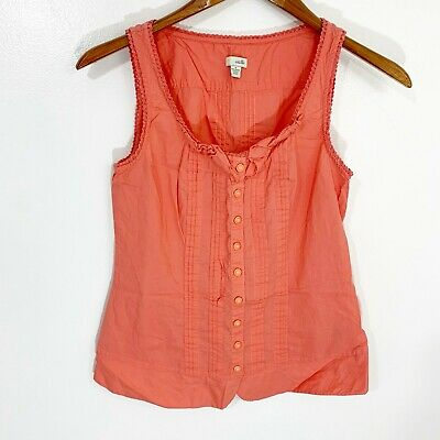 $ CDN7.51 • Buy Odille Anthropologie PInk Sleeveless Button Up Scoop Neck Top Women's Size 4