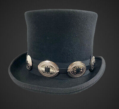 £17.97 • Buy Conch Wool Felt Top Hat Steampunk Topper Victorian Mad Hatter Slash Concho Band