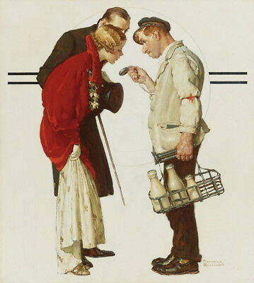 $ CDN13.32 • Buy Norman Rockwell The Milkman And The Young Couple Giclee Paper Print Poster