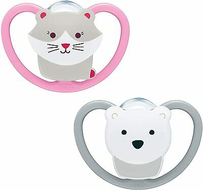 AU14.35 • Buy NUK Space Silicone Soother Cat & Polar Bear (0-6 Months)