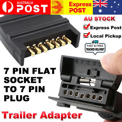AU14.39 • Buy 7 Pin Flat Trailer Plug Male & Female Socket Set Caravan Boat Adapter Connector