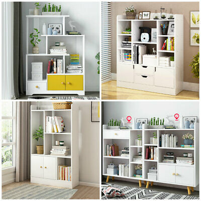 Bookshelf Tall Display Cupboard Storage Wooden Office Home Unit Rack Shelves New • 34.29£