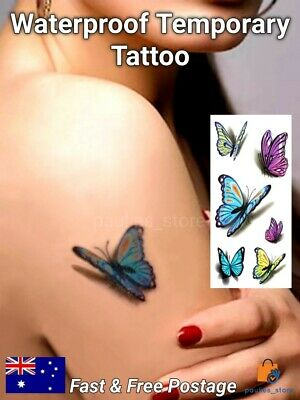 AU4.60 • Buy 3D Colorful Butterfly Waterproof Temporary Tattoo, Body Art, Fake Tattoo Sticker