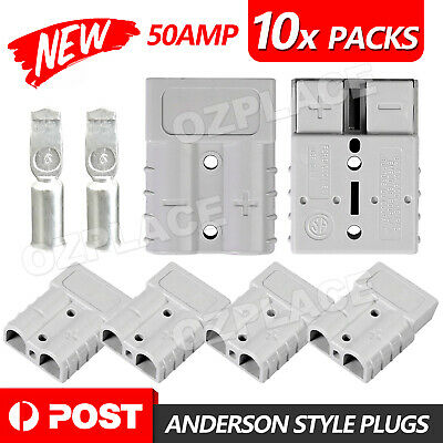 AU15.95 • Buy 10 X Anderson Style Plug Connectors 50 AMP 12-24V 6AWG DC Power Tool AU