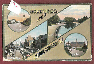 £4.84 • Buy Middlesborough Multi View Vintage Postcard Of Greetings From Used Sent To Berlin