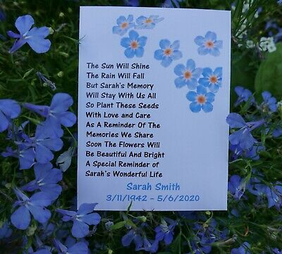 Funeral Forget Me Not Seed Packets Flowers Remembrance Favour Personalised • 4.99£