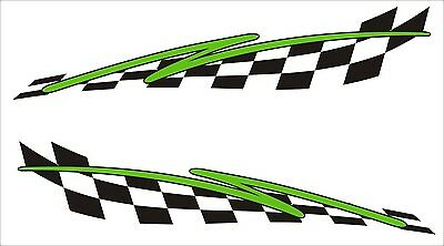 2x Flash Chequered Flag Vinyl Stickers Graphics Decals Car Racing Dirt Bike Car • 2.84£