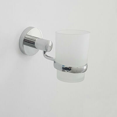 Chrome Wall Toothbrush Tumbler Holder With Glass Cup Mounted Bathroom Accessory • 10.47£