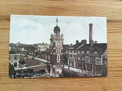 MAIDENHEAD Clock Tower, Bell Hotel Frith Postcard   Free Shipping • 3.99£