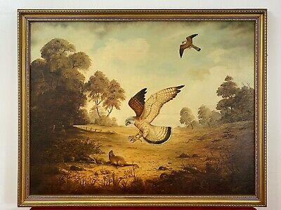 Original Oil Painting Of Hunting Birds Of Prey Signed By Artist G Millhouse • 425£