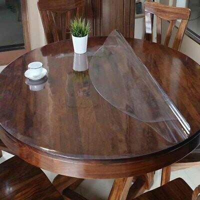 AU22.31 • Buy  Waterproof PVC Tablecloth Round Clear Table Cloth Cover Oil Proof Dining Mat