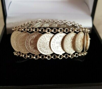 Antique Silver Novelty Bracelet. Fashioned With NEDERL INDIE Coins. Circa 1940's • 55£