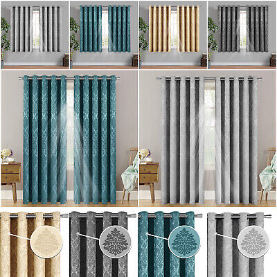 Blackout Curtains Ready Made Eyelet Ring Top Pair Curtain With Free Tie Backs • 19.99£
