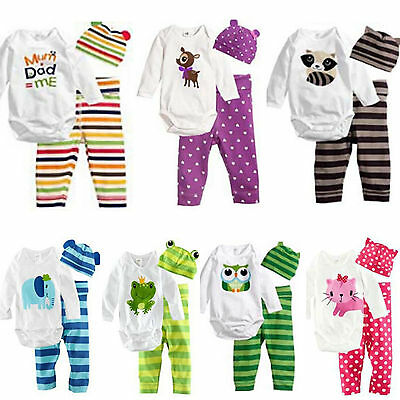 AU19.66 • Buy Newborn Baby Boy Girl Romper Pants Hat Outfits Set Clothes Winter Warm Casual