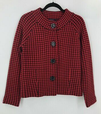 £14.31 • Buy Chadwicks Wool Blend Houndstooth Sweater Sz M Cardigan Red & Black Big Buttons