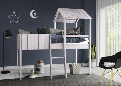 Kids Single Cabin Bunk Bed Wooden Loft Mid Sleeper With Ladder Treehouse Canopy • 229.99£