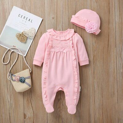 Baby Girls Spanish Romany Pink Embroidered Jumpsuit All In One & Hat Set • 13.49£