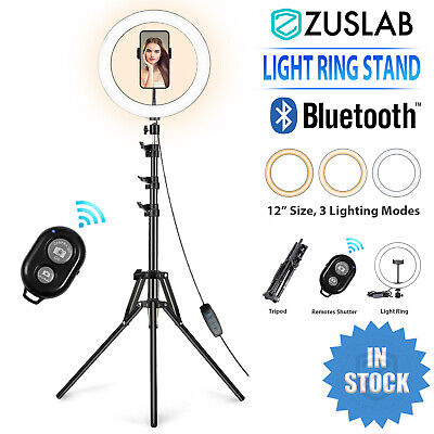 AU62.95 • Buy 12''Dimmable LED Ring Light Dimmable Light Stand Kit Phone MakeUp Video Live