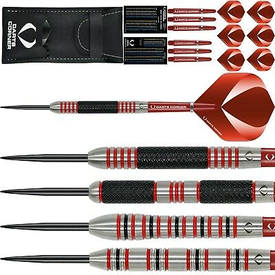 Tungsten Darts Set 23g 24g 25g 26g 27g 28g Grams Red Rings Knurled Firescar • 19.95£