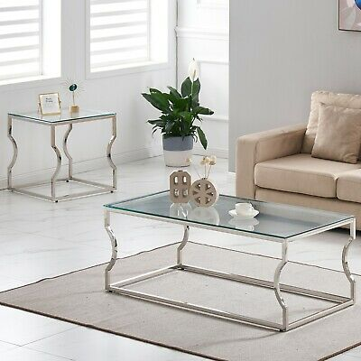 Console Coffee End Table Tinted Tempered Glass Furniture Chrome Crescent Leg • 74.99£