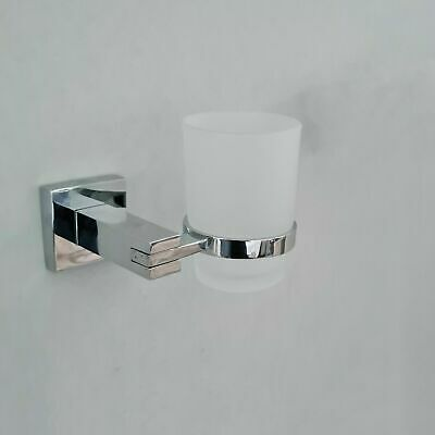 Chrome Toothbrush Holder With Glass Cup Wall Mounted Bathroom Accessory • 11.20£