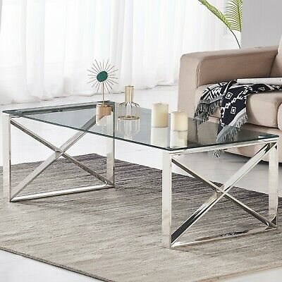 Console Coffee End Table Clear Tempered Glass Furniture Chrome Cross Base Leg • 54.99£