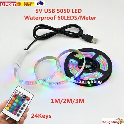 AU9.99 • Buy 1M 2M 3M USB RGB 5050 LED Strip Light 5V TV Back Lamp Colour Changing Waterproof
