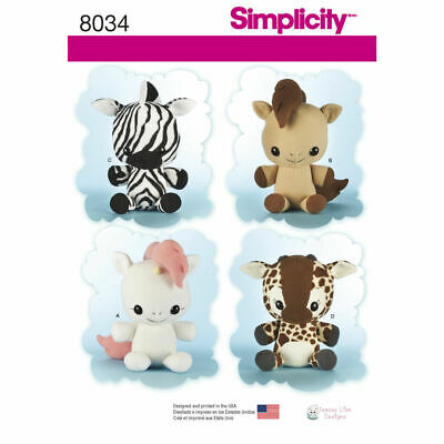 SIMPLICITY Sewing Patterns~8034 Childrens Childs Animal Stuffies One Size • 8.85£